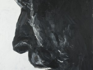 Staty i svart granit/ Black granite statue.