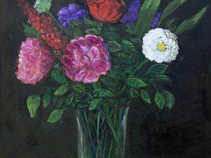 Blommor i glasvas/Flowers in a glass vase