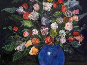 Blommor i blå vas/Flowers in blue vase